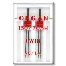 Machine Needles ORGAN TWIN 130/705 H - 70 (1,4) - 2pcs/plastic box (ref.5102041)