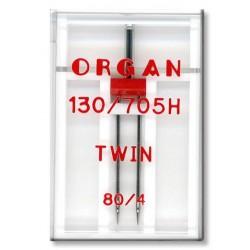 Machine Needles ORGAN TWIN 130/705 H - 80 (4,0) - 1pcs/plastic box