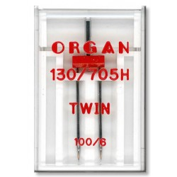 Machine Needles ORGAN TWIN 130/705 H - 100 (6,0) - 1pcs/plastic box