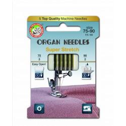 Machine Needles ORGAN SUPER STRETCH ASSORT 130/705H - 5pcs/card (75:3, 90:2pcs)