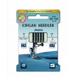 Machine Needles ORGAN JEANS 130 / 705H - ASORT - 5pcs/card (90:3, 100:2pcs)