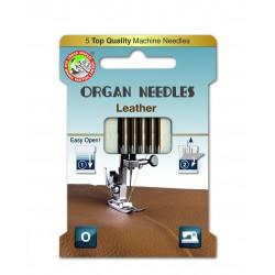 Machine Needles ORGAN LEATHER ASSORT 130/705H - 5pcs/card (90:3, 100:2pcs)