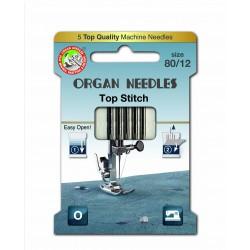 Machine Needles ORGAN TOP STITCH 130/705H - 80 - 5pcs/card