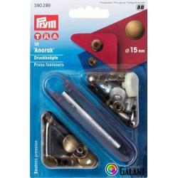 Press fasteners ANORAK 15mm - old brass (Prym) - 10pcs/card