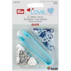 Press fasteners JERSEY 8 mm PRYM LOVE (Prym) - blue/light blue/white - 21pcs/card