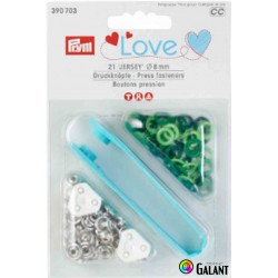 Press fasteners JERSEY 8 mm PRYM LOVE (Prym) - green/light green - 21pcs/card