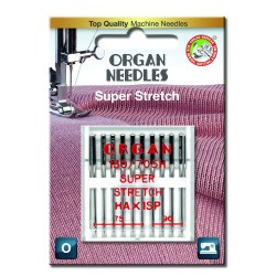 Machine Needles ORGAN SUPER STRETCH 130/705H - Assort - 10pcs/plastic box/card (75:6, 90:4pcs)