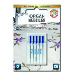 Machine Needles ORGAN EMBROIDERY BLUE TIP 130/705H - 75 - 5pcs/plastic box/card