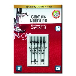 Machine Needles ORGAN EMBROIDERY ANTI-GLUE 130/705H E-LP - Assort - 5pcs/plastic box/card (90:3, 100:2pcs)