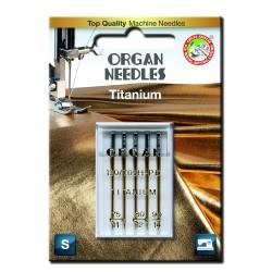 Machine Needles ORGAN TITANIUM 130/705H - Assort - 5pcs/plastic box/card (75:2, 80:2, 90:1pcs)