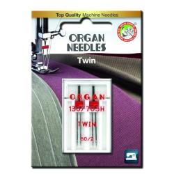 Machine Needles ORGAN TWIN 130/705 H - 80 (2,0) - 2pcs/plastic box/card