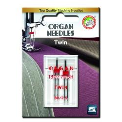 Machine Needles ORGAN TWIN 130/705 H - 80 (2,5) - 2pcs/plastic box/card