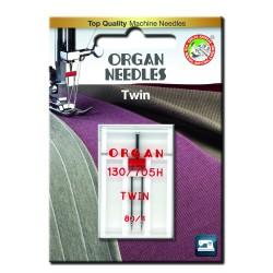Machine Needles ORGAN TWIN 130/705 H - 80 (4,0) - 1pcs/plastic box/card
