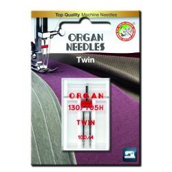 Machine Needles ORGAN TWIN 130/705 H - 100 (4,0) - 1pcs/plastic box/card