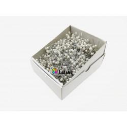 Plastic pearled Head Pins 38x0,60mm - nickel plated - c. white - 1000pcs/box