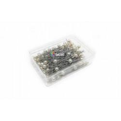 Plastic pearled Head Pins 38x0,60mm - nickel plated - c. white - 100pcs/box