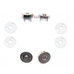 Magnetic Snap Closures 14mm - nickel plated - 100set/polybag