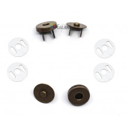 Magnetic Snap Closures 14mm - old brass - 100set/polybag