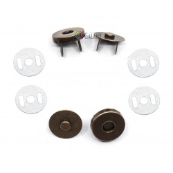 Magnetic Snap Closures 18mm - old brass - 100set/polybag