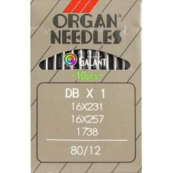 Industrial Machine Needles ORGAN DBx1 - 80/12 - 10pcs/card
