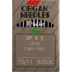 Industrial Machine Needles ORGAN DPx5 SUK - 75/11 - 10pcs/card