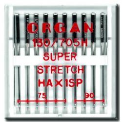 Machine Needles ORGAN SUPER STRETCH 130/705H - Assort - 10pcs/plastic box