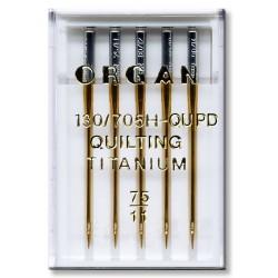 Machine Needles ORGAN QUILTING TITANIUM 130/705H - QUPD - 75 - 5pcs/plastic box