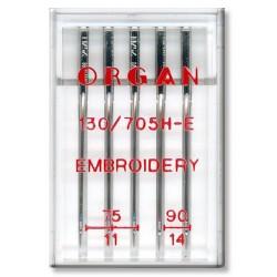 Machine Needles ORGAN EMBROIDERY 130/705H - Assort - 5pcs/plastic box (75:3, 90:2pcs)