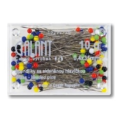 Glass Head Pins 35x0,40mm assort colours - 10g/box