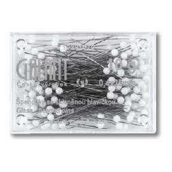 Glass Head Pins 35x0,40mm white - 10g/box