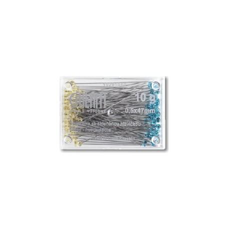 Glass Head Pins 47x0,50mm crystal - 10g/plastic box