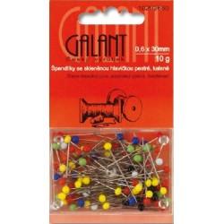 Glass Head Pins 30x0,60mm assort colours - 10g/card