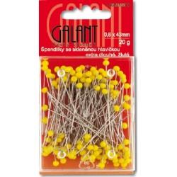 Špendlíky skleněné 43x0,60mm žlutý - 20g/karta