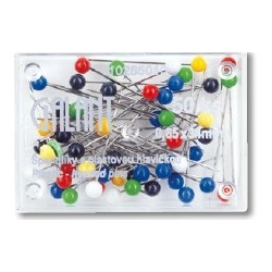 Plastic Head Pins 34x0,65mm assort colours - 50pcs/plastic box