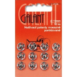 Brass Snap Fasteners Galant - 11mm nickelled - 12pcs/card