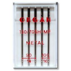 Machine Needles ORGAN METAL 130/705H - Assort - 5pcs/plastic box (90:3 ,100:2pcs)