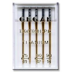Machine Needles ORGAN TITANIUM 130/705H - Assort - 5pcs/plastic box (75:2, 80:2, 90:1pcs)